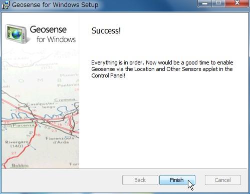 「仮想GPS」機能 Geosense for Windowsの導入手順